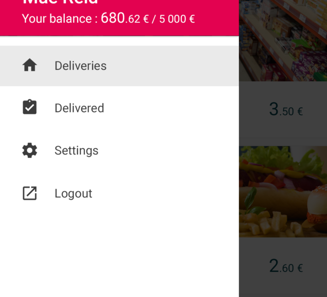 Menu application mobile de livraison collaborative Android & iOS